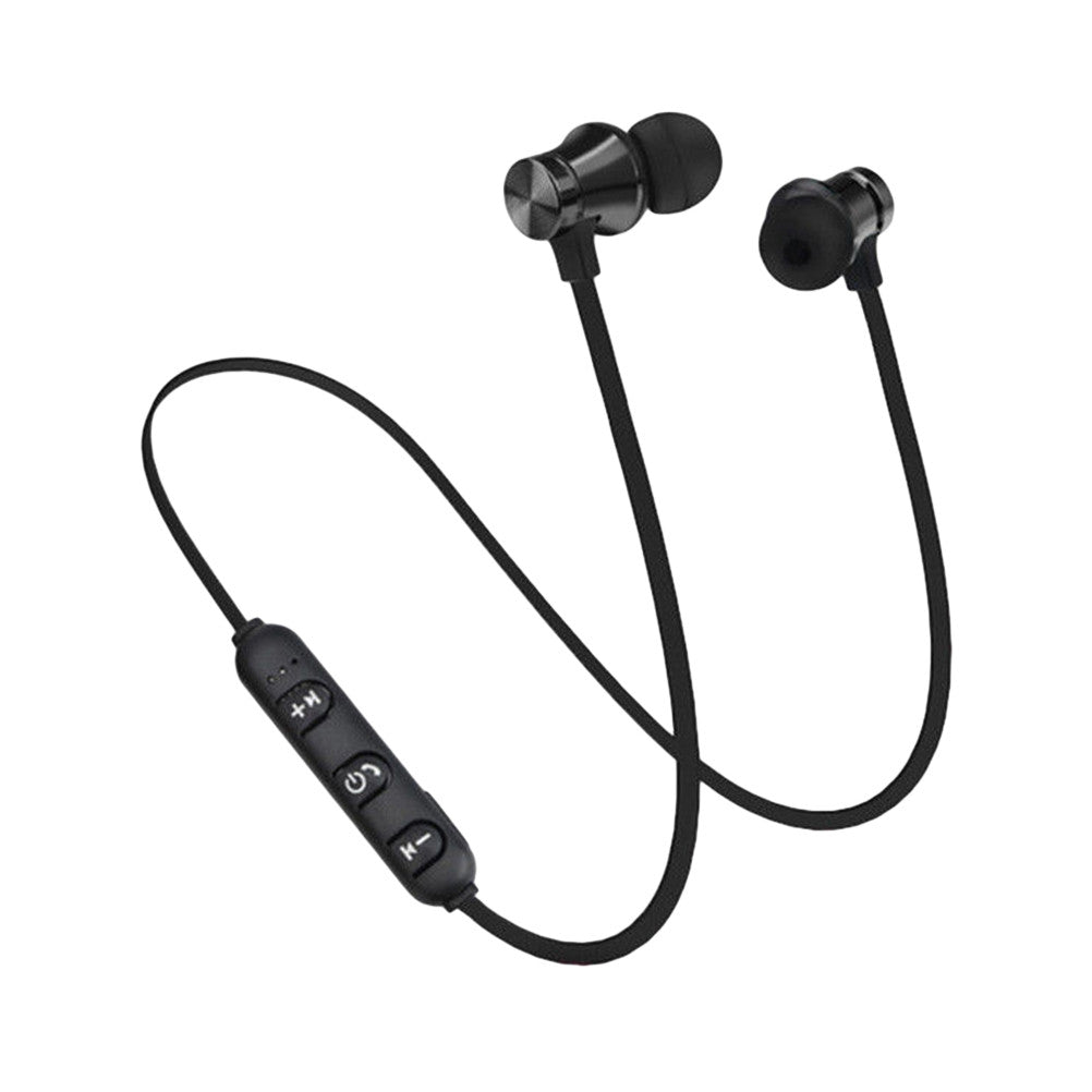 Bluetooth 4.1 Headset Handsfree Wireless Earbuds Earphones Noise Canceling Stereo In Ear Bass Sport Magnet Absorption Headphones (Black)