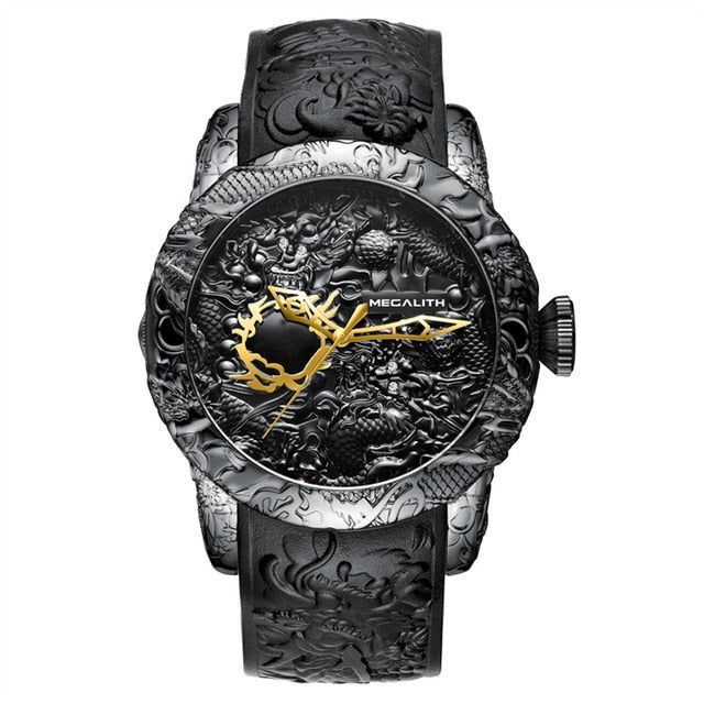 Gold Dragon Sculpture Watch