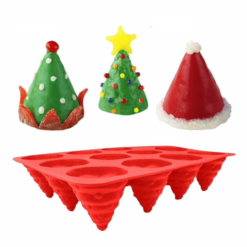 3D 12 Holes Christmas Tree Shape Silicone Cake Mold