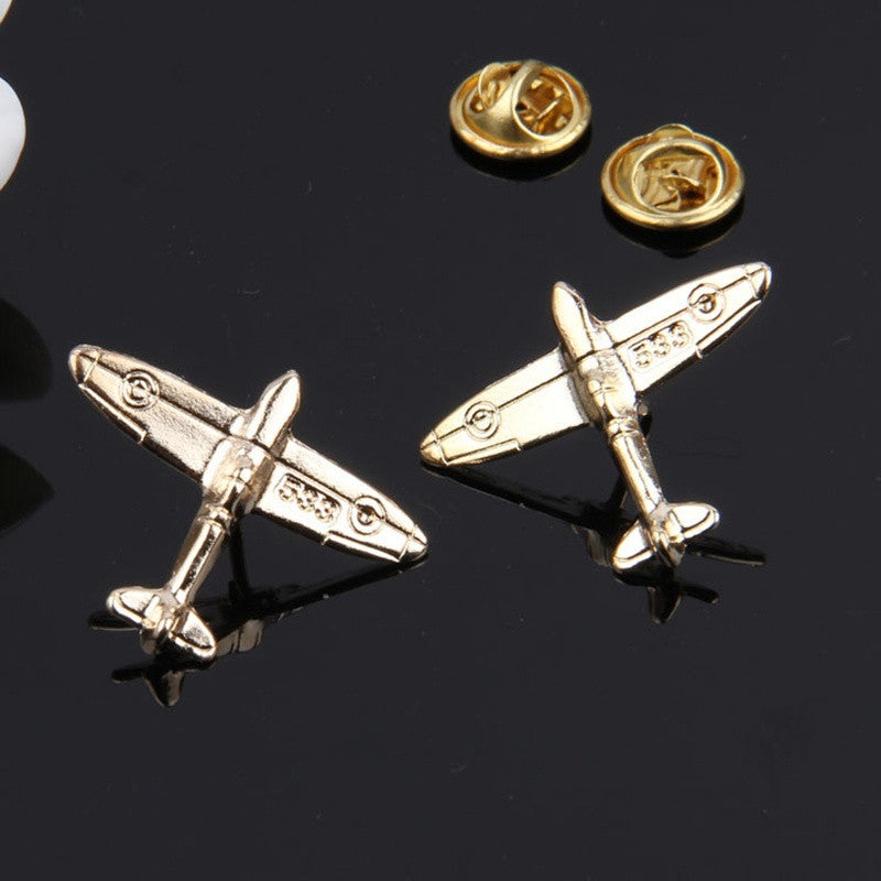 1PAIR Fashion Men Gilded Planes Brooch Husband Lapel Pin Wedding Brooch Collar Pin Men Suit Dressup