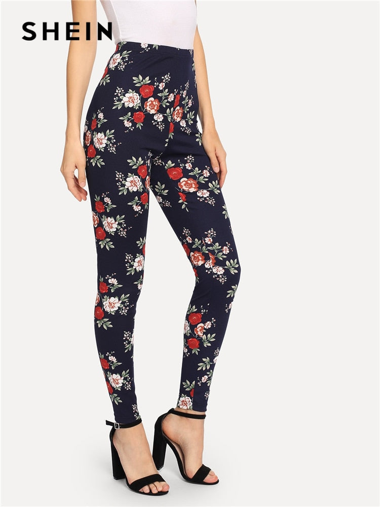 SHEIN Navy Highstreet Elegant Flower Print Skinny Leggings 2018 Autumn Casual Women Pants And Trousers