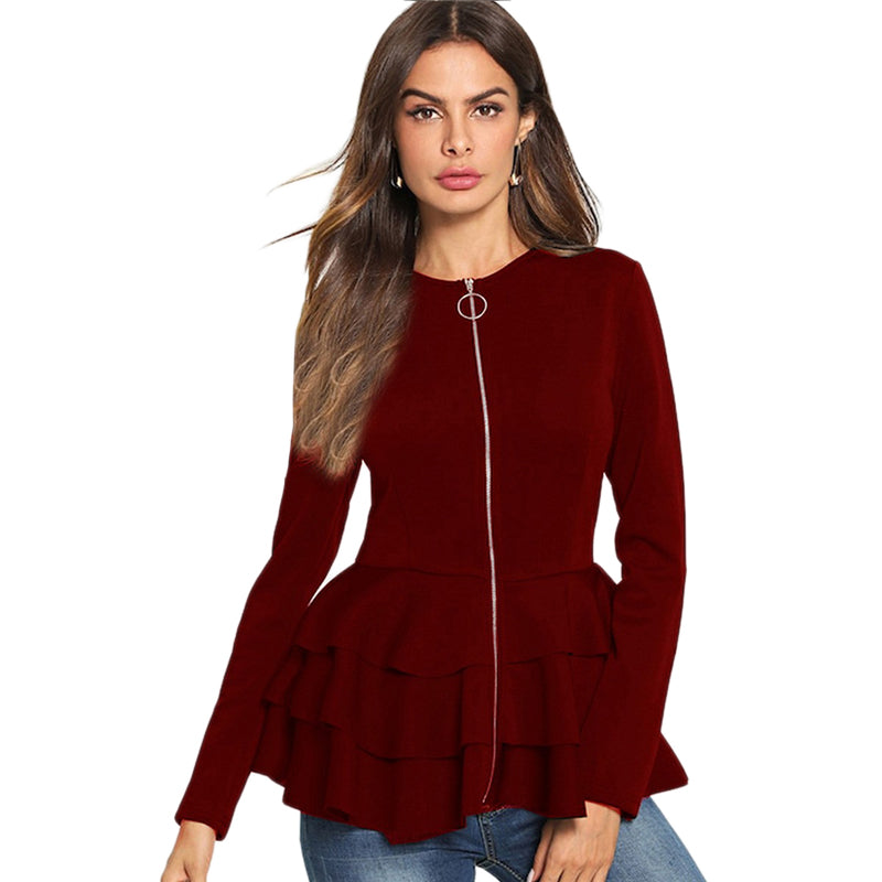 Burgundy O-Ring Zip Up Ruffle Hem Outerwear