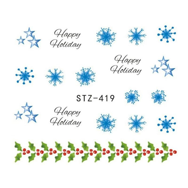 3d Christmas 6 Sheets Snowflake Flower Nail Art Sticker Decal Tips Diy Decor Isfang