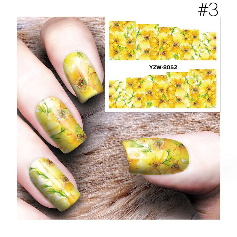 Chic 3D Nail Art Water Decals Stickers Transfers Deep Purple Flower Decoration