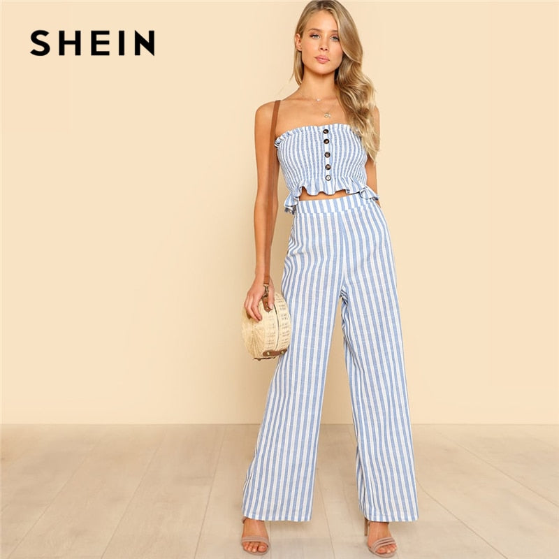 5f536ff178 SHEIN Blue Bohemian Shirred Ruffle Hem Strapless Crop Cami Top and Wide Leg  Pants Striped Sets Women Summer Beach Two Piece Set