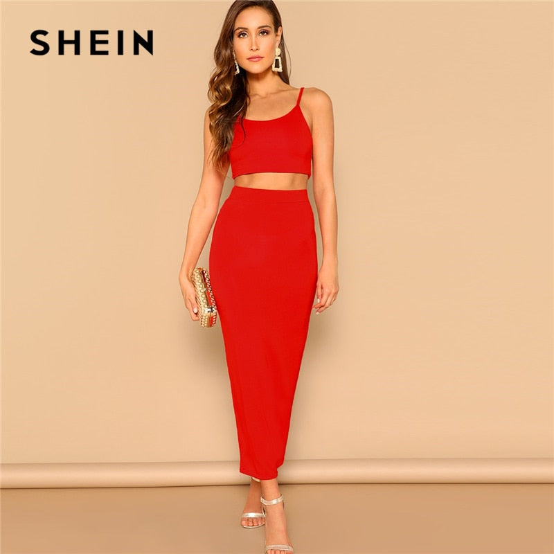 4002c17655 SHEIN Sexy Red Crop Cami Spaghetti Strap Top and Bodycon Pencil Skirt Set  Women 2019 Summer