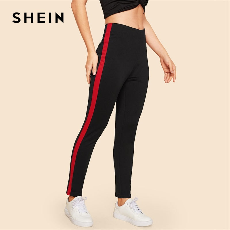 SHEIN Vintage Black Contrast Sideseam Sporting Zipper Long Leggings Women Mid Waist Spring Leisure Casual Workout Leggings