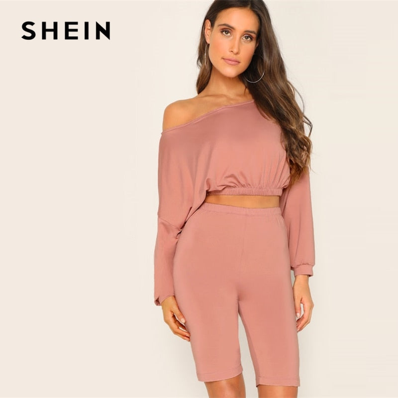 7ab61e8228 SHEIN Pink Drop Shoulder Crop Top And Legging Shorts Boat Neck Plain Set  Women Two Pieces