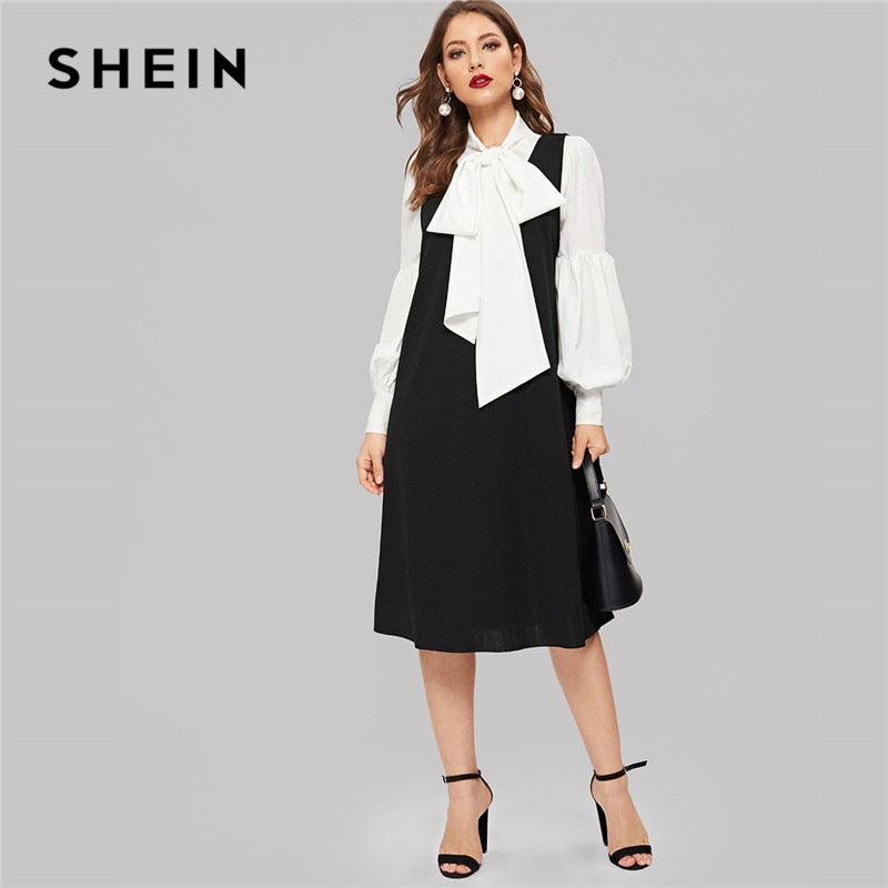 0fb1f54f4a SHEIN Bow Tie Neck Bishop Sleeve White Top With A-Line Black Dress Women  Elegant