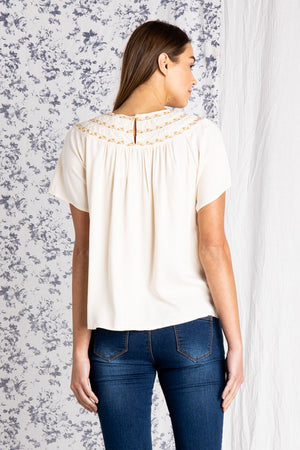Fade Away Round Neck Top- Cream