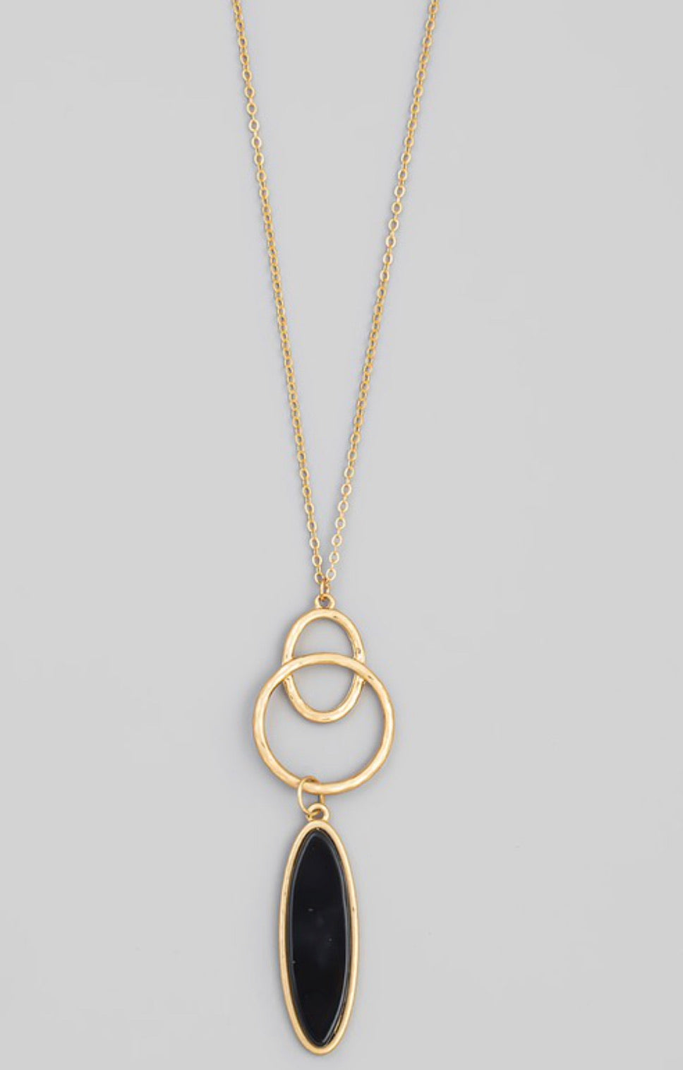 Semiprecious Oval Stone Pendant Necklace - 4 colors