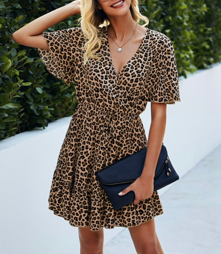 Casual Blessings Surplice Dress - Brown Leopard