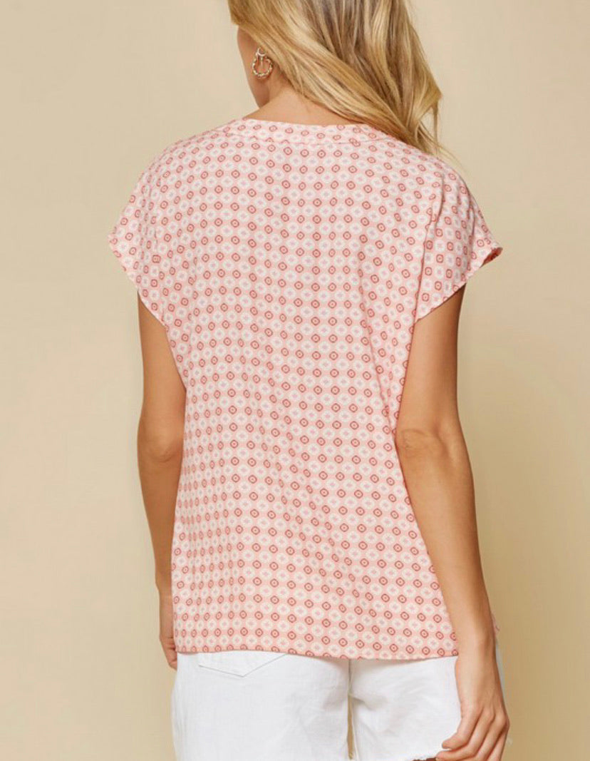 Intuitions Woven Top- Blush