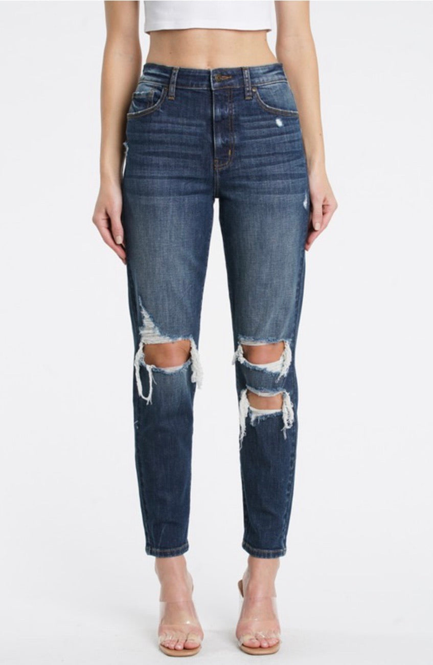 Eunina Super High Rise Mom Jean Dark Wash- TOBI