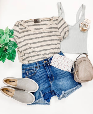 Back To The Basics Striped Top- Grey