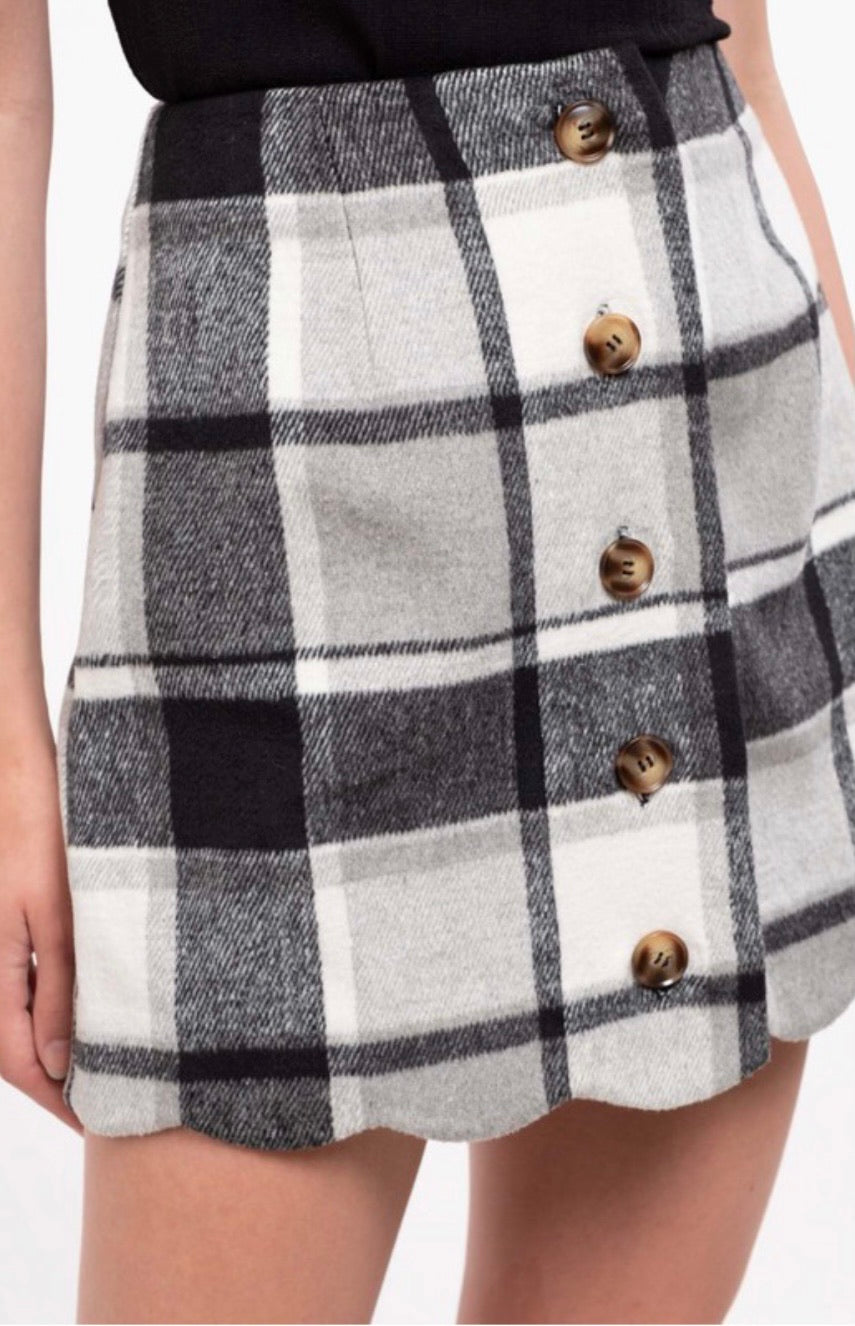 Totally Plaid Skirt - Grey