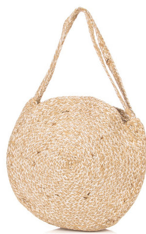 Straw Weave Round Tote Bag- ivory
