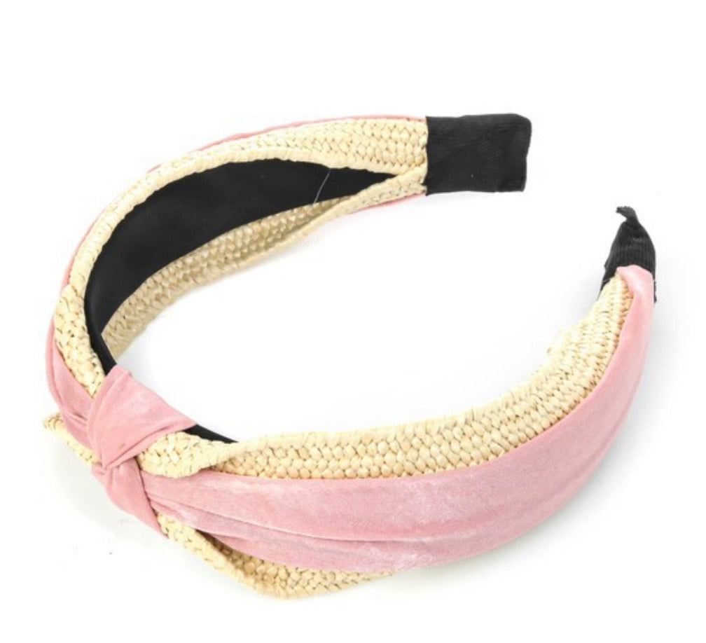 Straw Knit & Fabric Knot Headband- 2 colors available
