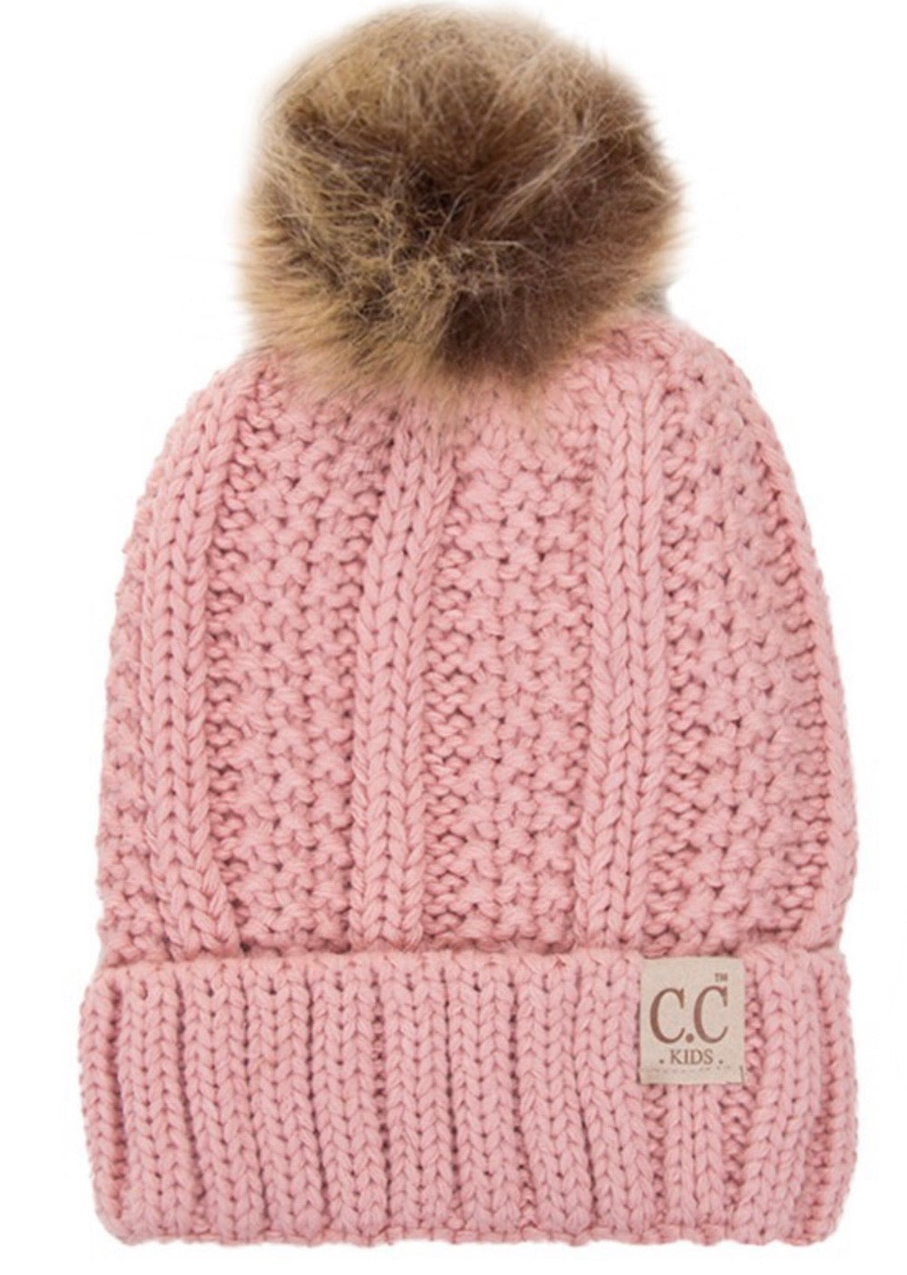KIDS Fleece Lined C.C. Pom Beanies- 5 colors available
