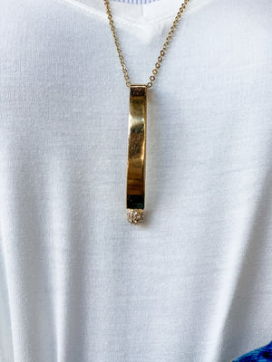 Long Gold Necklace with Prolonged Pendant