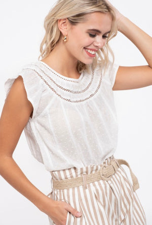 Everlasting Cotton Dotted Top- White
