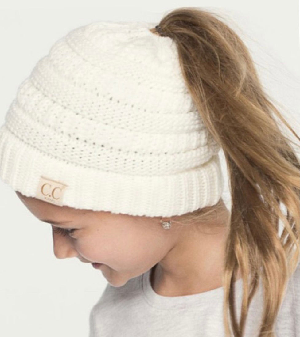 KIDS Ponytail C.C Beanie- 3 colors available