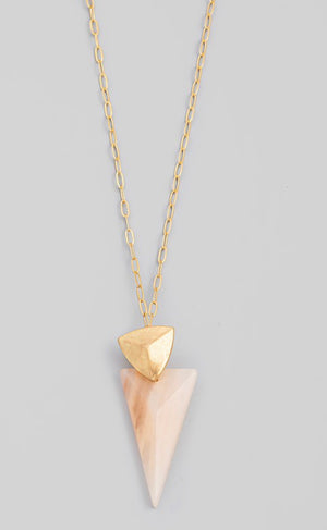 Semiprecious Stone Arrow Pendant Necklace - 3 Colors