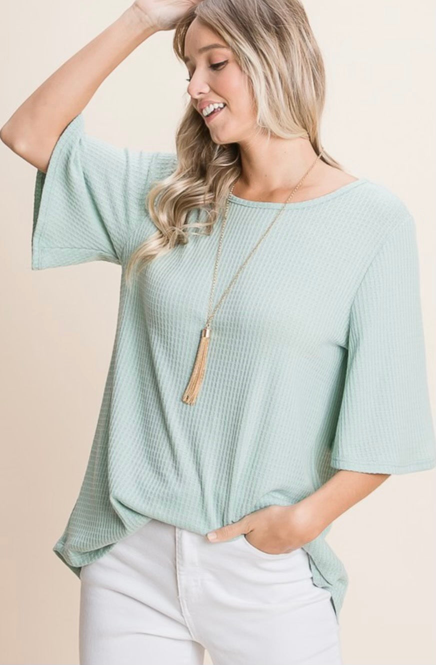 Total Flirt Short Sleeve Top- Sage