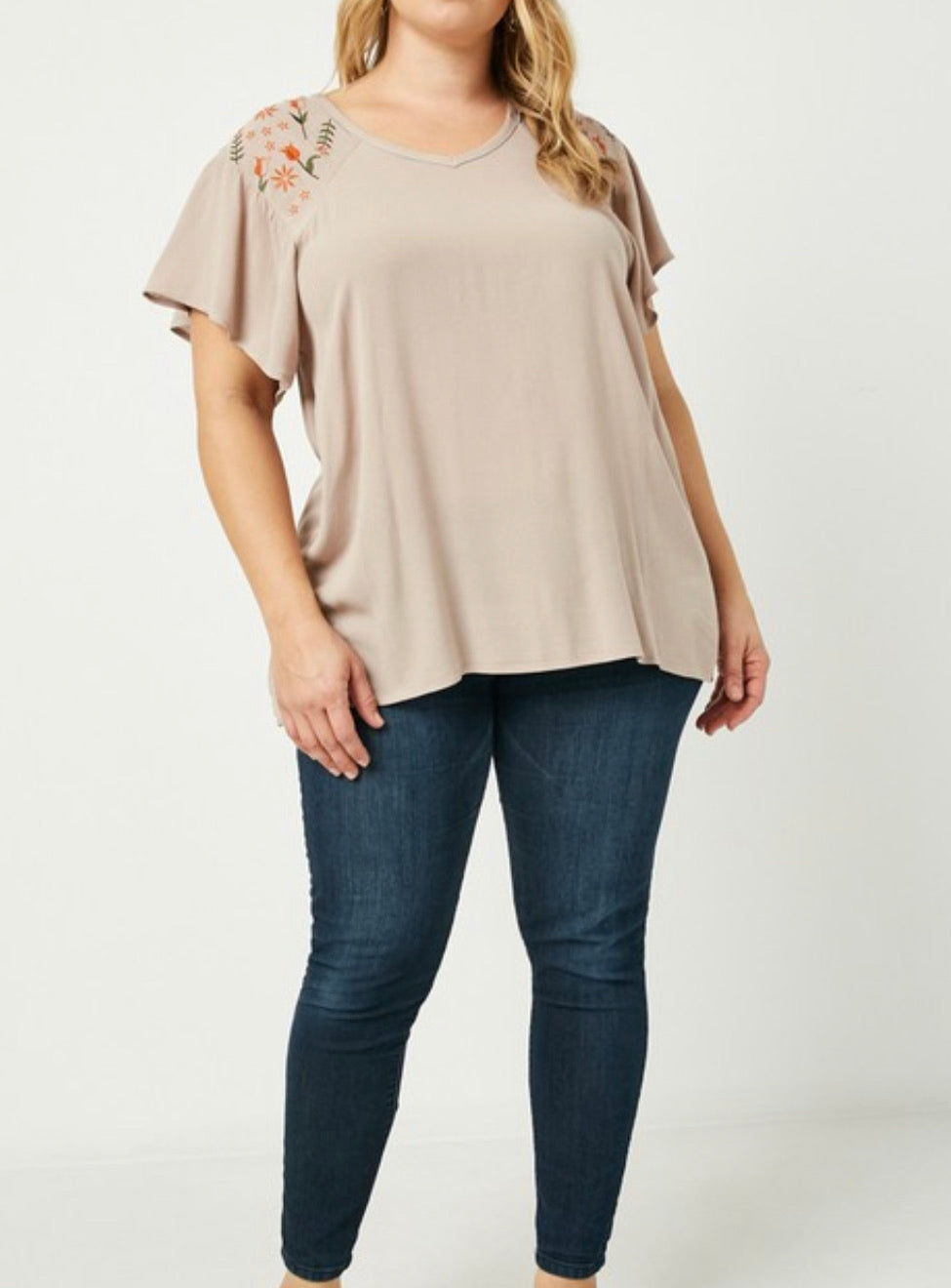 PLUS - Today Is the Day Floral Sleeve Top - Beige
