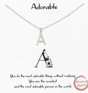 Silver Initial Necklaces - Multiple Letters Available