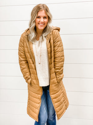 Let's Travel Midi Lightweight Puffer Jacket- Camel