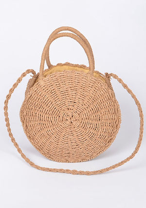 Shoulder Straw Strap Straw Round Clutch