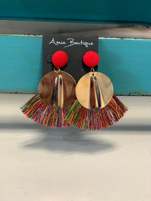 Here For The Party Circular Fringe Earrings- 3 Colors Available