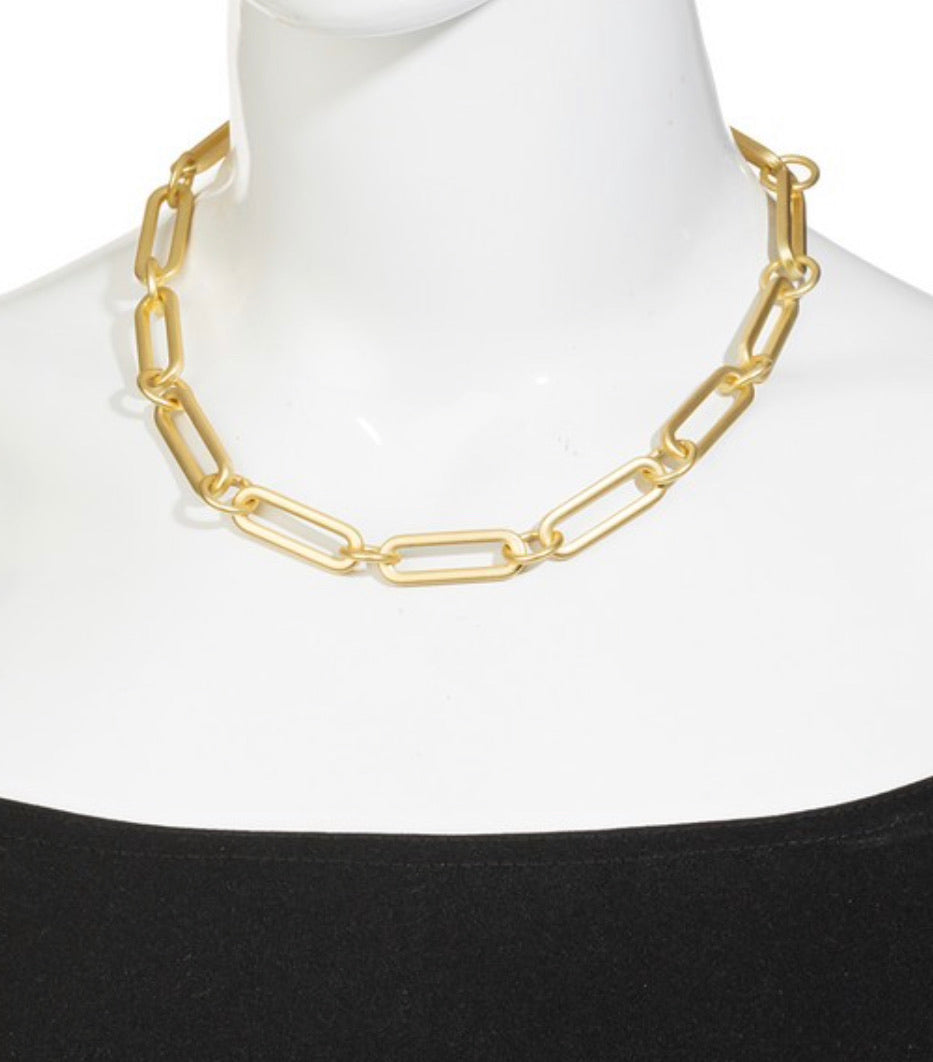 Oval Paperclip Chain Necklace