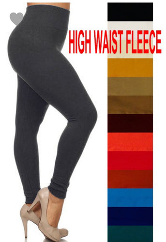 High Waisted Fleece Lined Leggings- PLUS