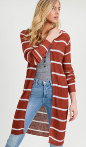 Forever After Striped Cardigan - Rust
