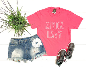 GIRLS - Kinda Lazy Tee- hot pink