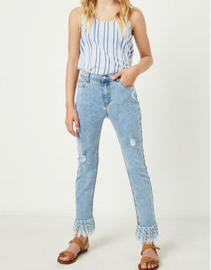 GIRLS- All That Frayed Jeans- Light Wash