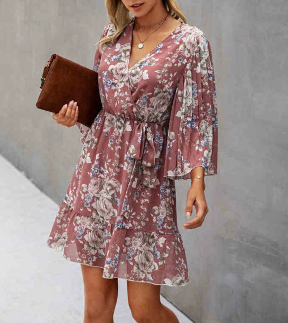Carrying On Floral Dress - Mauve