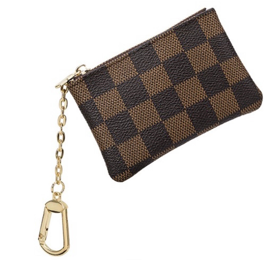 Check Me Out Checkered Coin Pouch/ Keychain- White