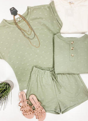 Hold You To It Textured Short Sleeve- Light Olive