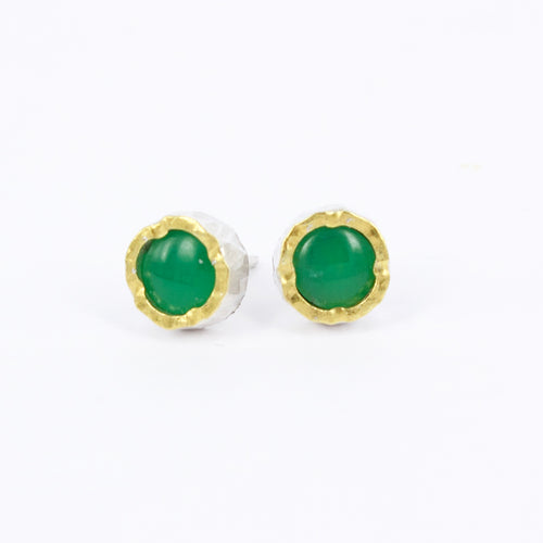 DM528B: Chrysoprase gold edge studs