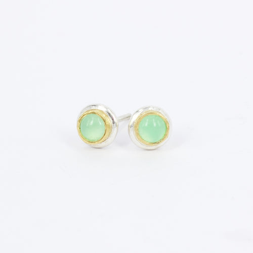 DM582B: Chrysoprase ingot stud earrings
