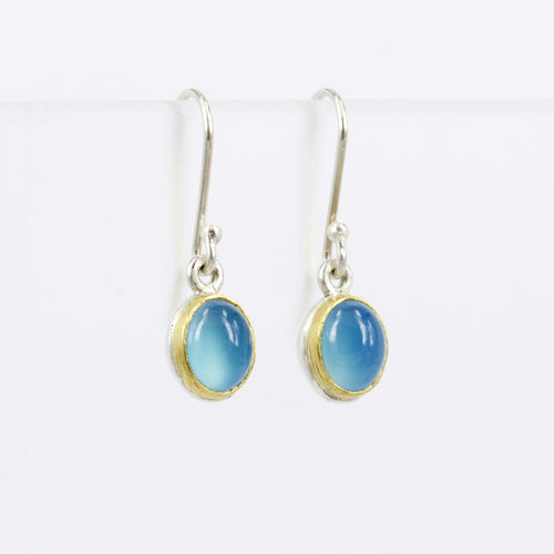 DM606B: Blue chalcedony drop earrings