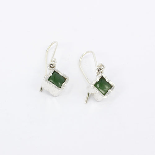 DM613Q: Square pounamu earrings