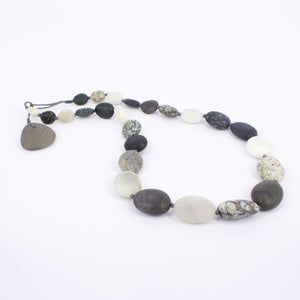ACT268: Black and white Orepuki stone necklace