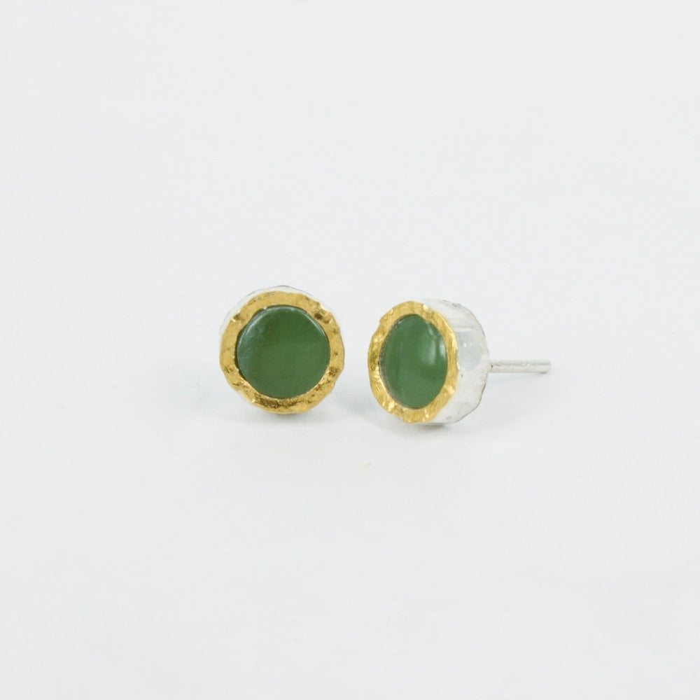 DM: Pounamu gold edge stud earrings - SOLD