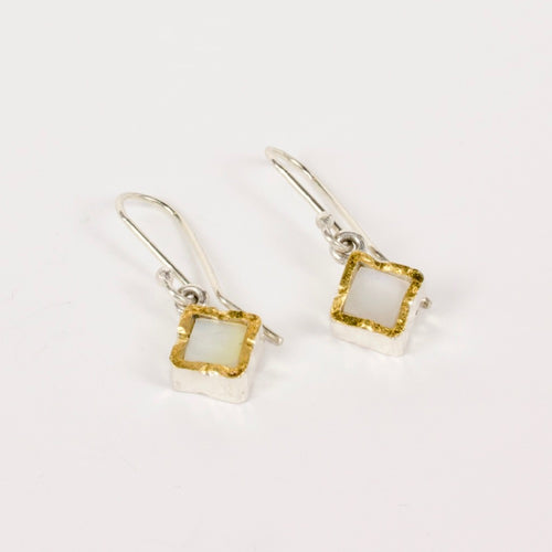 DM: Mother of pearl gold edge earrings