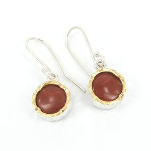 DM338B: Jasper gold edge earrings