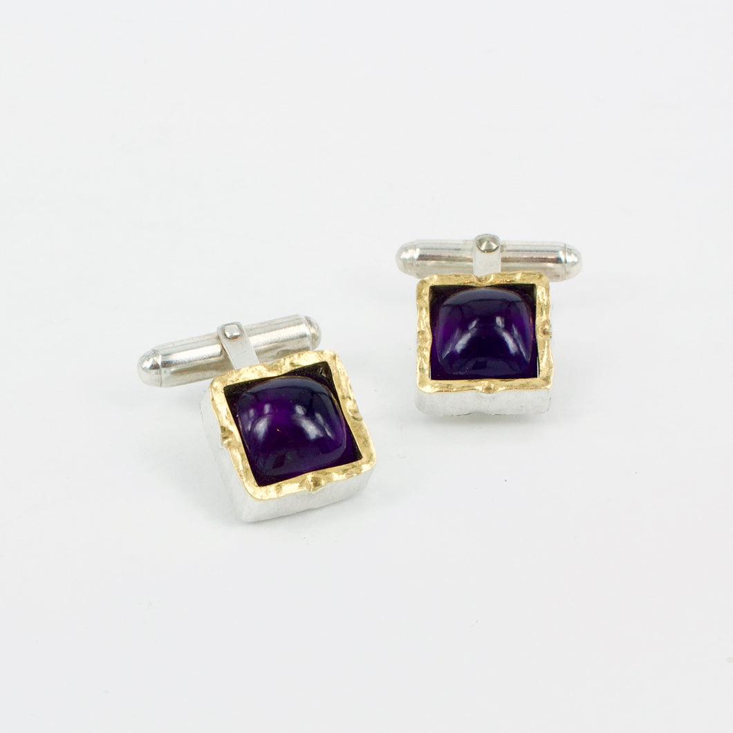 DM863A: Amethyst gold edged cufflinks